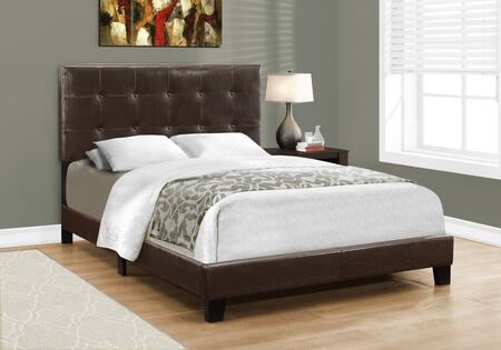 I 5922F Full Bed with Faux Leather Upholstery  Button Tufted Headboard and Solid Wood Block Feet in Dark