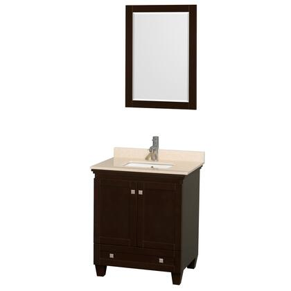 WCV800030SESIVUNSM24 30 in. Single Bathroom Vanity in Espresso  Ivory Marble Countertop  Undermount Square Sink  and 24 in.