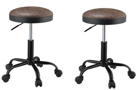 Ouray Collection 96157 Set of 2 Adjustable Stools with 360 Degrees Swivel Seat  Foam Filled Seat Cushion  Metal 5-Star Base  Casters  Metal Steel Frame