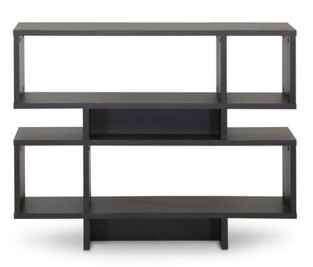 Baxton Studio FP-4DS-Shelf Cassidy Modern Bookshelf with 4 Levels  3 Storage Compartments  Engineered Wood Frame and Faux Wood Grain Paper Veneer in