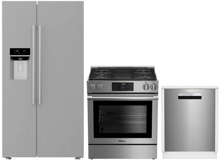 3-Piece Kitchen Package with BSBS2230SS 36 inch  Side by Side Refrigerator  BGR30420SS 30 inch  Slide In Gas Range  and a free DWS55100SS 18 inch  Built In Fully Integrated