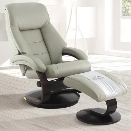 Oslo Collection 58-LO3-42-625 19 inch  Manual Recliner and Ottoman with Swivel Mechanism  Lumbar Support  Pillow Top Back Cushion and Top Grain Leather Upholstery