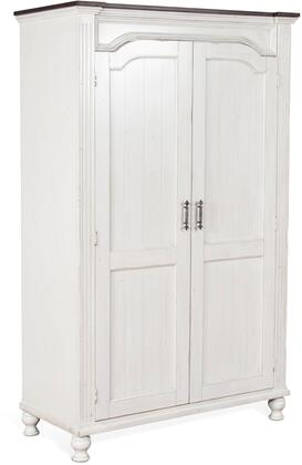 Carriage House Collection 2308EC-W 76 Wardrobe with 2 Large Doors  Molding Details  Antique Metal Pulls  Fluted Pilasters and Wood Construction in European
