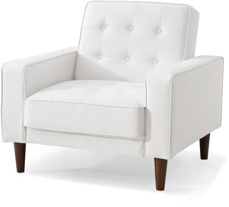 Navi Collection G847A-C 43 inch  Sleeper Chair with Tapered Wood Legs  Track Arms  Button Tufted Cushions  Heavy Duty Springs and Faux Leather Upholstery in White