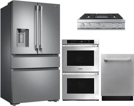 4-Piece Stainless Steel Kitchen Package with DRF36C100SR 36 inch  French Door Refrigerator  DTT36M974AS 36 inch  Liquid Propane Rangetop  RNWO227FS 27 inch  Double Wall Oven