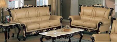 992s2set Traditional 2 Piece Livingroom Set  Sofa And Loveseat In Khaki With Mahogany Wood Finish And Gold Leaf