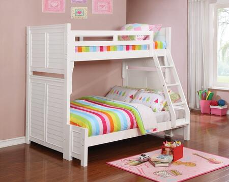 Edith Collection 461101 Twin over Full Size Bunk Bed with Louvered Panels  Separable Beds  Built-In Ladder  Slat Kits Included  Pine and MDF Construction in
