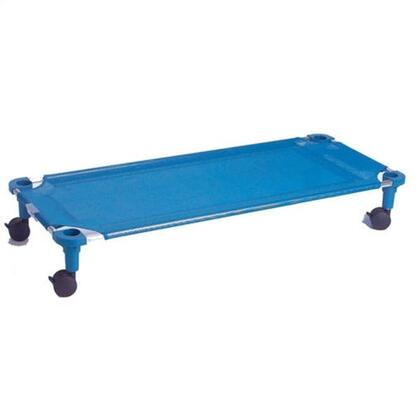 575T-TA Toddler Cot Dolly Unassembled in Blue with Tan Legs Blue Fabric Color  Leg Color -
