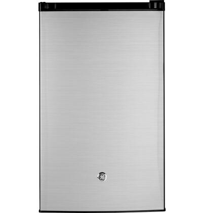 GME04GLKLB Energy Star Qualified Compact Refrigerator with 4.4 cu. ft. Capacity  Tall bottle door storage  Can rack  3 Glass cabinet shelves and 2/3 width