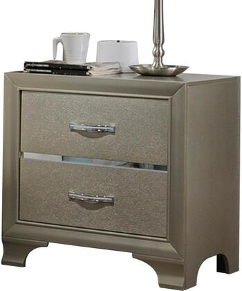 Carine Collection 26243 24 inch  Nightstand with 2 Drawers  Metal Hardware  Wooden Bracket Leg  Acrylic and Solid Rubberwood Materials in Champagne