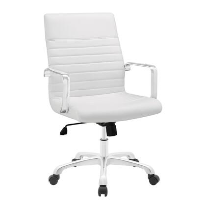Finesse Collection EEI-1534-WHI Office Chair with 360 Degree Swivel  Mid Backrest  Adjustable Height  Polished Aluminum Frame and Ribbed Vinyl Upholstery in