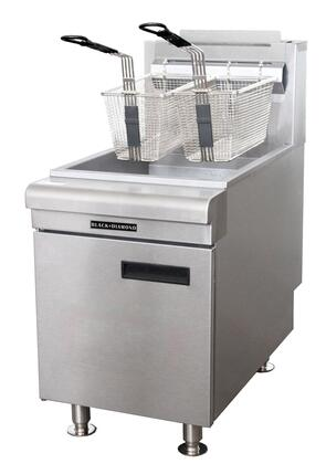 BDCTF-75/LPG 15 inch  Black Diamond Series Commercial Gas Countertop Fryer with 75000 BTU Power  Standing Pilot Light  Thermostat  Two Wire Mesh Baskets  Tube Rack