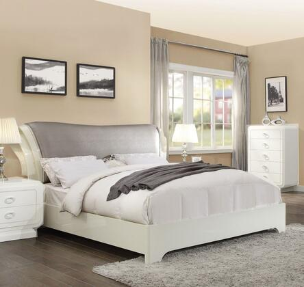 Bellagio Collection 20390Q Queen Size Sleigh Bed with Grey PU Leather Upholstered Headboard  Low Profile Footboard  Bracket Legs and High Gloss Wood