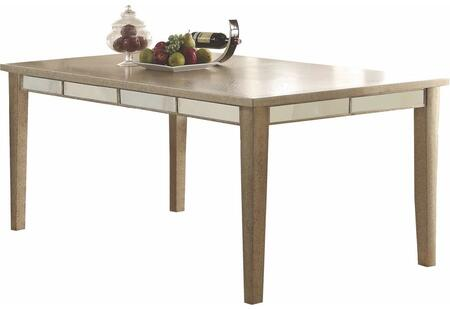 Voeville Collection 61005 72 inch  90 inch  Extendable Dining Table with Mirror Trim Inlay  Tapered Legs  Medium-Density Fiberboard