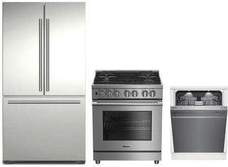 3-Piece Kitchen Package with BRFD2230SS 36 inch  French Door Refrigerator  BDFP34550SS 30 inch  Freestanding Dual Fuel Range  and DWT59500SS 24 inch  Built In Fully