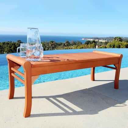 V1642 Malibu Eco-Friendly 4-Foot Backless Outdoor Hardwood Garden Bench  Natural