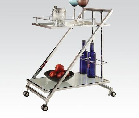 Shaila Collection 98131 22 inch  Serving Cart with 5mm White Frosted Tempered Top  Casters  Wine Bottle Storage and Metal Frame in Chrome