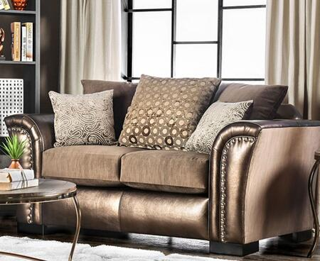 Benigno  SM6414-LV Loveseat with Nail Head Accents  Block Feet  Velvet-Like Fabric and Faux Leather in