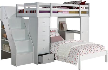 Freya Collection 37145 Twin Loft Bed and Bookcase Ladder with 3 Drawer Desk  5 Drawer Chest  4 Steps  3 Shelves  Side Metal Glide Drawers  Rubberwood Knobs and