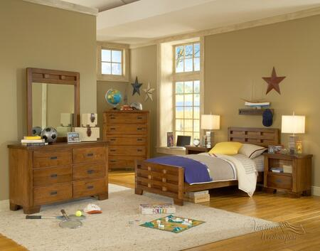 Heartland 1800-33CPBMRDRCDNS 5-Piece Bedroom Sets with Twin Bed  Mirror  Dresser  Chest of Drawers and Nightstand in Spice