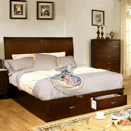 Enrico V Collection CM7807Q-BED Queen Size Platform Bed with 2 Drawers  Brushed Nickel Pulls  Solid Wood and Wood Veneer Construction in Brown Cherry