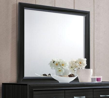 Naima Collection 25904 47 inch  x 36 inch  Mirror with Rectangle Shape  Engineered Wood  Rubberwood and Chipboard Materials in Black