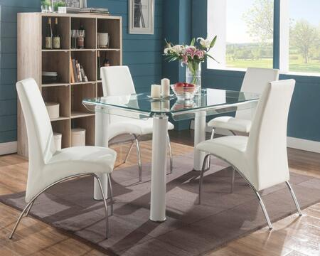 Gordie Collection 702607SET 4 PC Dining Room Set with Glass Top Dining Table and 4 White PU Leather Uphosltered Side Chairs in White