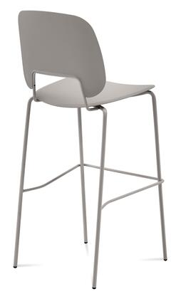 TRAFF.R.A0F.SA.PSA Traffic Stacking Chair with Sand Lacquered Steel Frame  Polished Metal Legs  Sand Polypropylene Seat and