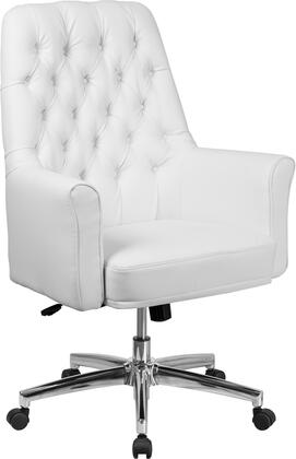 BT-444-MID-WH-GG Mid-Back Traditional Tufted White Leather Executive Swivel Chair with