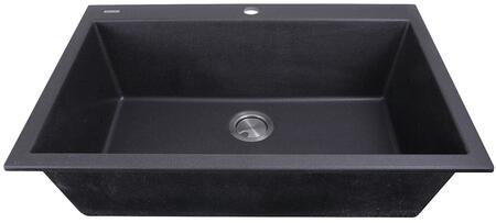 Plymouth Collection PR3322-DM-BL 33 inch  Dual-Mount Granite Composite Sink with Heat Resistant Design  Sound Absorbing Material and Non-Porous Surface in