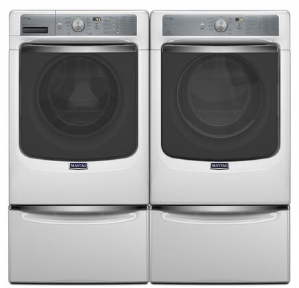 White Front Load Laundry Pair With MHW8150EW 27 inch  Washer  MED8150EW 27 inch  Electric Dryer and XHPC155XW 15.5 inch  High