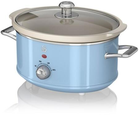 SF17021BLN 3.5 Liter Retro Slow Cooker with Tempered Glass Lid  Power Light Indicator and Removable Ivory Crock Pot in