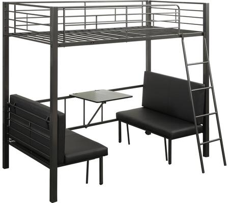 Hakem Collection 37520 Twin Size Loft Bed with Adjustable Seat  Foldable Desk  Reversible Front Ladder  Easy Access Guardrail and Metal Steel Tube Frame in