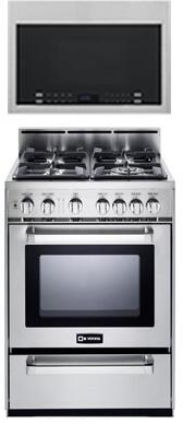 2-Piece Kitchen Package with VEFSGG244NSS 24 inch  Freestanding Gas Range and HMV1472BHS 24 inch  Over the Range Microwave Oven in Stainless