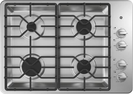 GE JGP3030SLSS 30 Inch Gas Cooktop with MAX System, Power Broil, Simmer, Continuous Grates, Sealed Burners and ADA Compliant