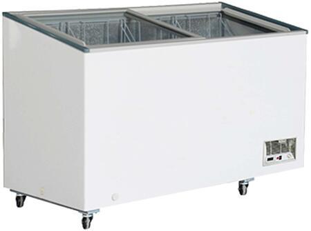 MXH14.2F Display Freezer with 11.8  cu. ft.  Recessed Sliding Door Handle  Aluminum Interior  White Exterior  Light  Temperature Display  Front Facing Drainage