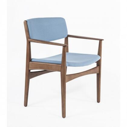 Tiset FEC9119LBLUE Arm Chair with Tapered Legs  Track Arms and Fabric Upholstery in Light