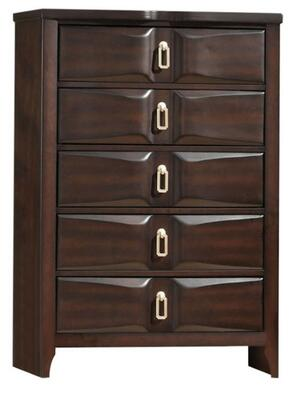 Lancaster Collection 24576 33 inch  Chest with 5 Beveled Front Drawers  Silver Metal Hardware  Rubberwood and Tropical Wood Construction in Espresso