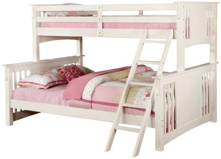 Spring Creek Collection CM-BK604WH-BED Twin XL Over Queen Size Bunk Bed with Angled Ladder  10 PC Slats Top/Bottom  Solid Wood and Wood Veneer Construction in