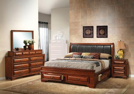 G8850C-FB3BDMN 4-Piece Bedroom Set with Full Size Storage Bed + Dresser + Mirror + Single Nightstand  in