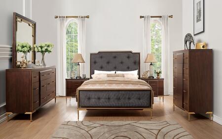 Eschenbach Collection 25957EKSET 6 PC Bedroom Set with King Size Bed + Dresser + Mirror + Chest + 2 Nightstands in Dark Brown