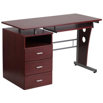 NAN-WK-008-GG Mahogany Desk with Three Drawer Pedestal and Pull-Out Keyboard
