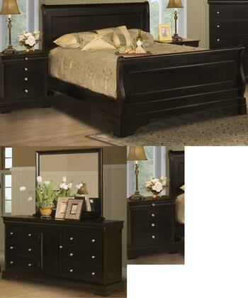 00013WSBDMNN Belle Rose 5 Piece Bed Room Set with Western King Sleigh Bed  Dresser  Mirror  and Two Nightstands  in Black