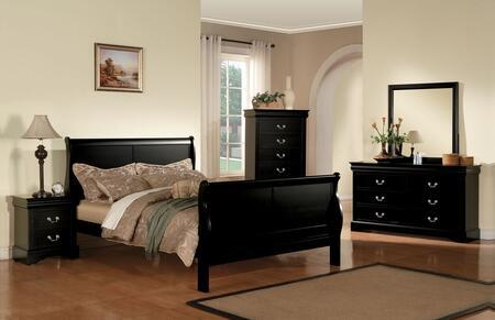 Louis Philippe III 19500Q5PC Bedroom Set with Queen Size Bed + Dresser + Mirror + Chest + Nightstand in Black