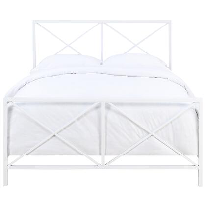 DSD171290M02 All-In-One White High Gloss 'X' Patterned Queen Metal Bed