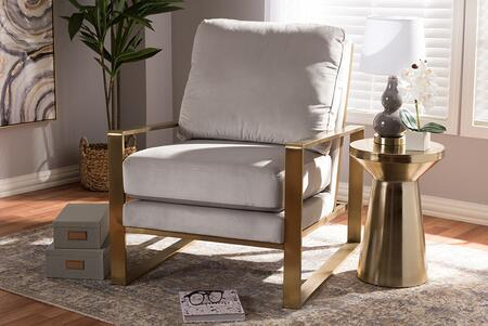 Baxton Studio Mietta Luxe and Glamour Grey Velvet Upholstered Gold Finished Lounge Chair