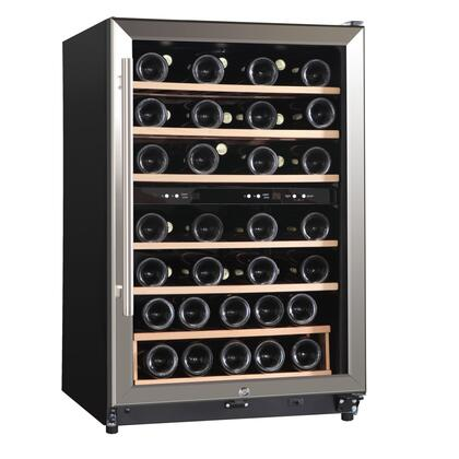 WHS-168WE 4.5CF 45 Bottle Wine Cooler with Dual Temperature Control  Slide-out Natural Wood Shelves  Automatic Illumination and High Temperature Acoustic Alarm