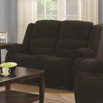 601462 Gordon Reclining Loveseat with Chenille Upholstery  Plush Pillow Arms and Two Scoop Seats in Dark