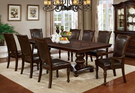 Alpena Collection CM3350T6SC2AC 9-Piece Dining Room Set with Rectangular Table  6 Side Chairs and 2 Arm Chairs in Brown Cherry