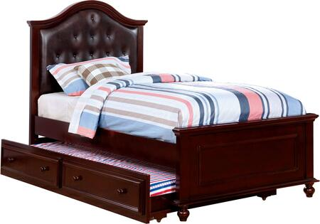 Olivia Collection CM7155EX-T-BED-TRUNDLE Twin Size Platform Bed with Trundle  Camelback Headboard  Turned Legs  Slat Kit Included and Button Tufted Leatherette